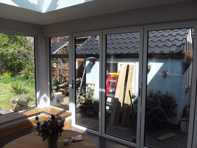 Offerton Sun Room after plasterboarding and skim